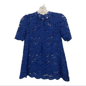 Anthropologie Sz Xs / 0 - Navy Lace Top